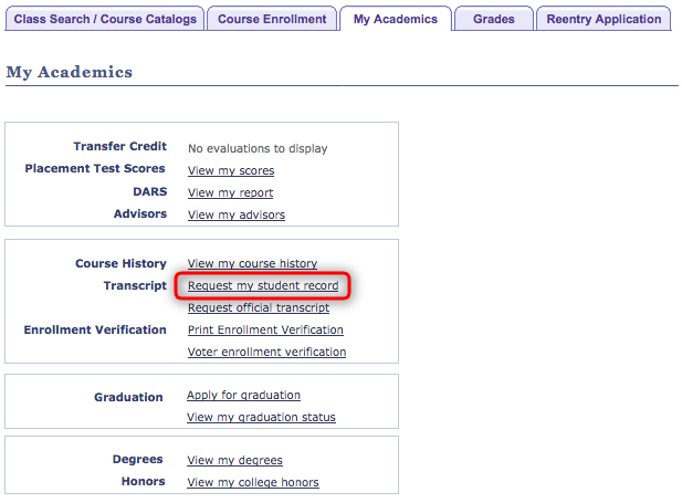 "screenshot from Student Center highlighting the ""Request my student record"" link"
