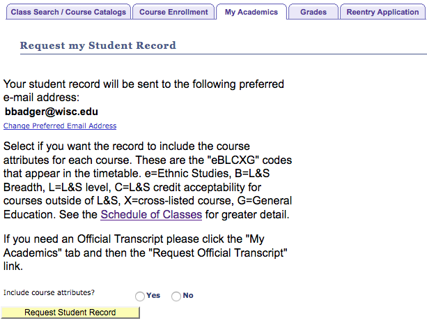"screenshot from Student Center of the ""Request my Student Record"" order page"