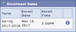 screenshot of enrollment appointment time in Student Center