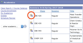 screenshot from Student Center showing calendar icon in enrolled classes grid